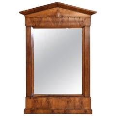 French Neoclassic Light Walnut Pediment Mirror, 2nd Quarter 19th Century