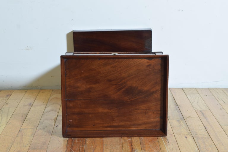 French Neoclassic Mahogany Tray Top 1-Drawer Side Table For Sale 6