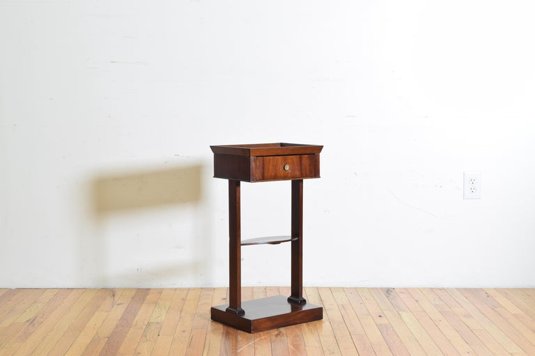 Neoclassical French Neoclassic Mahogany Tray Top 1-Drawer Side Table For Sale