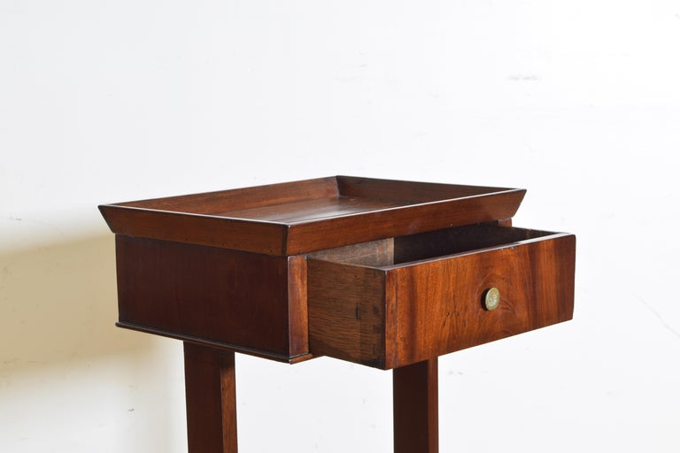 French Neoclassic Mahogany Tray Top 1-Drawer Side Table For Sale 1