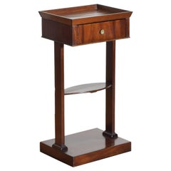 French Neoclassic Mahogany Tray Top 1-Drawer Side Table