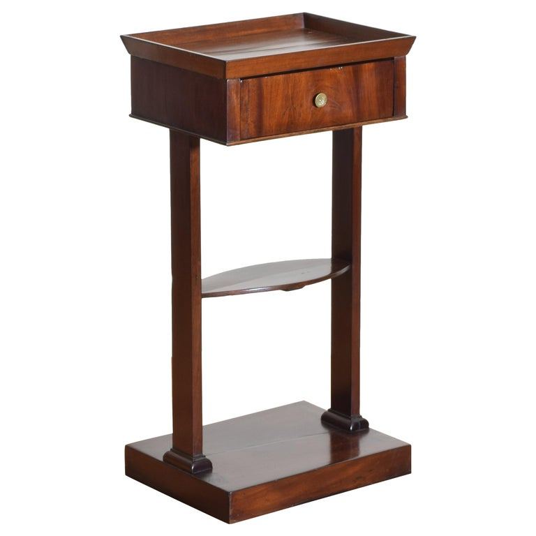 French Neoclassic Mahogany Tray Top 1-Drawer Side Table For Sale