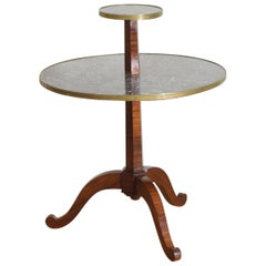 French Neoclassic Mixed Veneer, Marble, and Brass Mounted 2-tier Table