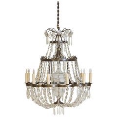 French Neoclassic Style Brass & Glass 12-Light Chandelier, Mid-20th Century, UL