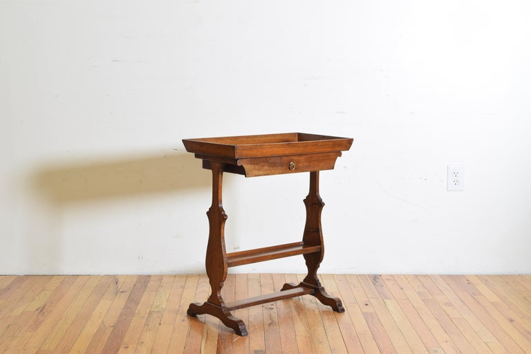 Neoclassical French Neoclassic Walnut Tray Top 1-Drawer Trestle Table For Sale