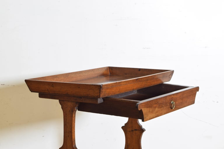 French Neoclassic Walnut Tray Top 1-Drawer Trestle Table For Sale 1
