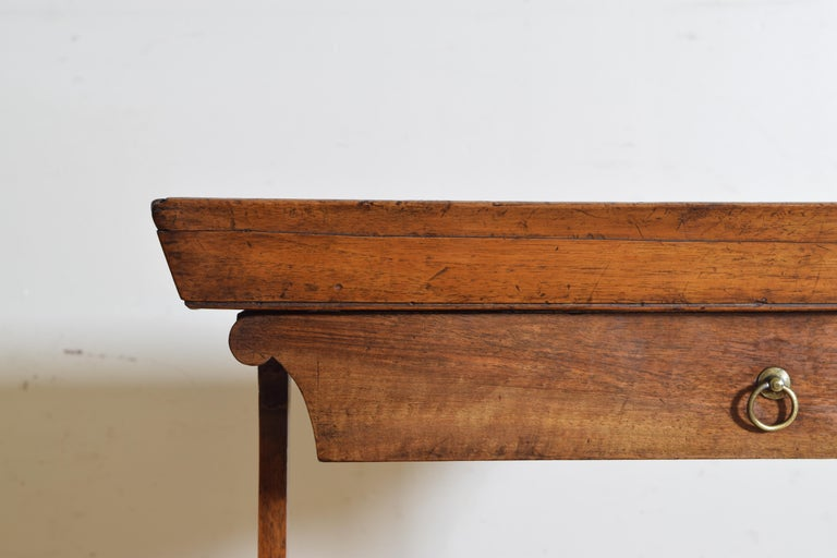 French Neoclassic Walnut Tray Top 1-Drawer Trestle Table For Sale 2