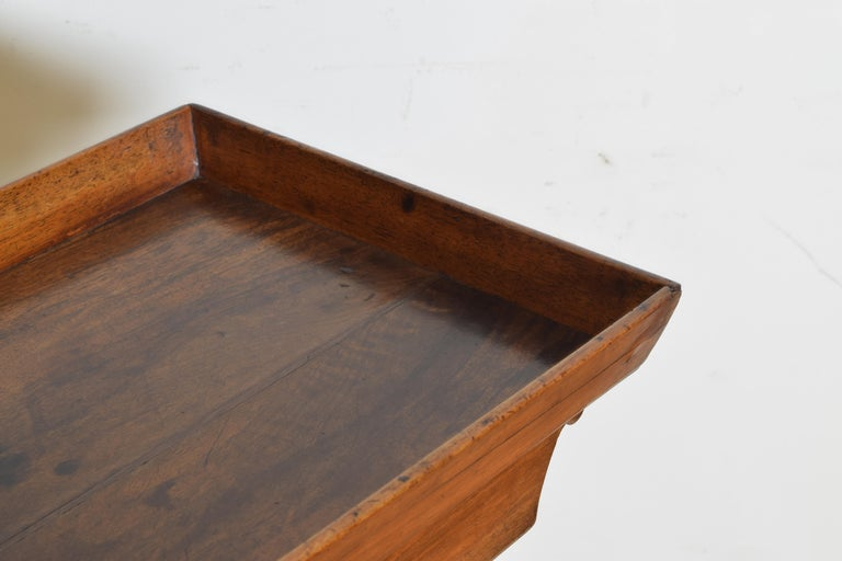 French Neoclassic Walnut Tray Top 1-Drawer Trestle Table For Sale 3