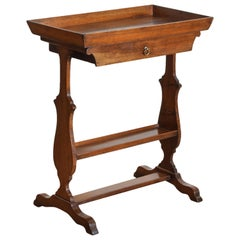 French Neoclassic Walnut Tray Top 1-Drawer Trestle Table