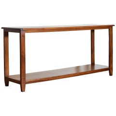 French Neoclassic Walnut Two-Tier Console Table, Second Half of the 19th Century
