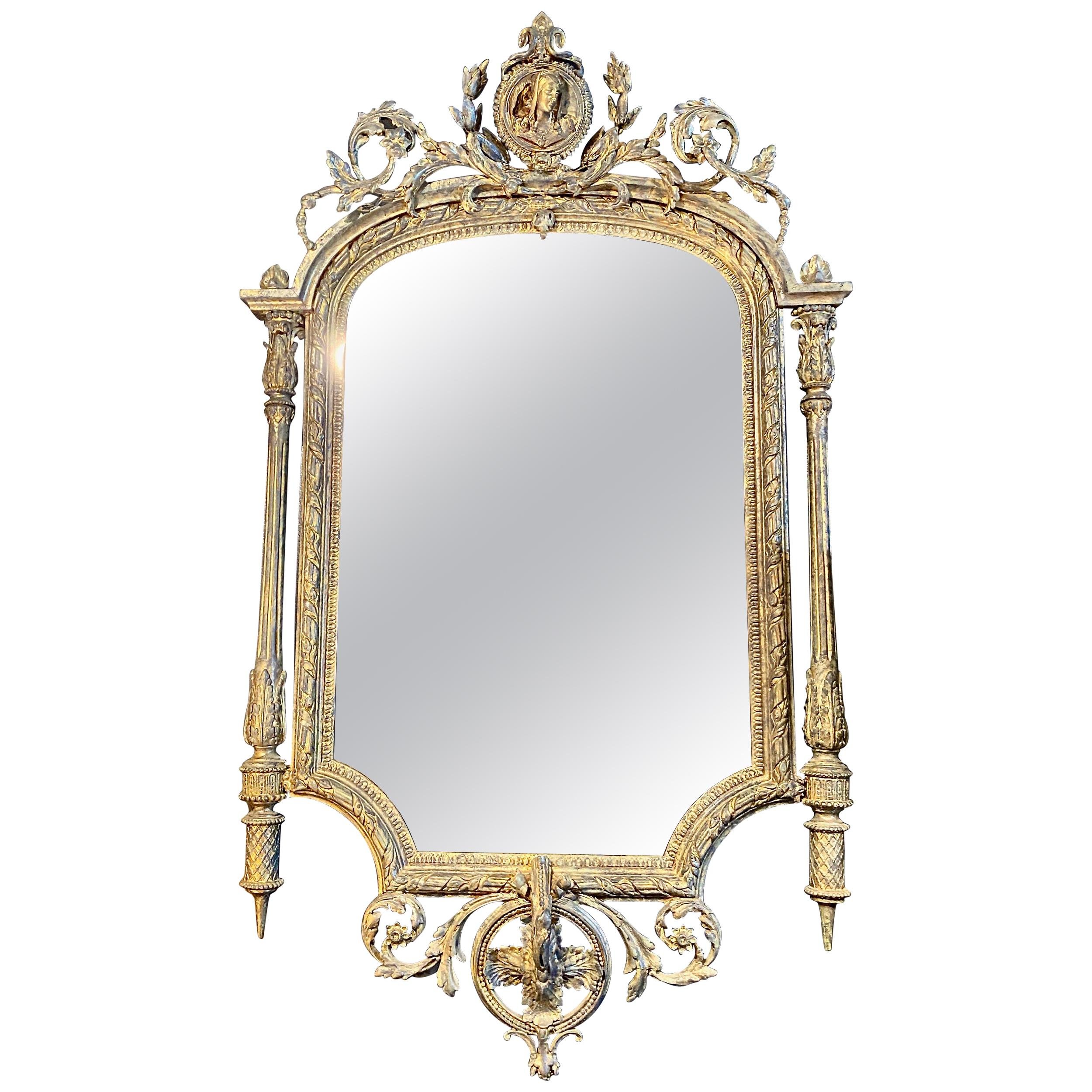 French Neoclassical 19th Century Giltwood Mirror