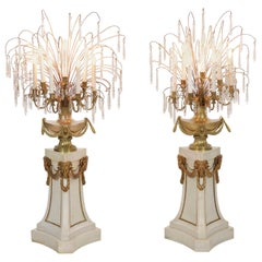 French Neoclassical Antique Pair of Marble Floor Candelabra Lamps