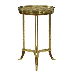 French Neoclassical Antique Round Accent Side Table in Maison Jansen Style
