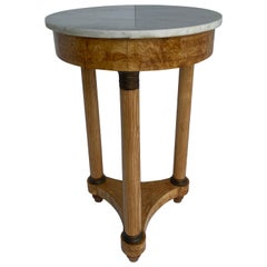 French Neoclassical Baker White Marble Top Empire Table with Bronze Hardware