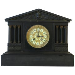 French Neoclassical Black Slate and Gold Gilt Mantel Clock