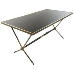 French Neoclassical Brass and Opaline Coffee Table by Raphaël, 1960s