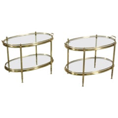French Neoclassical Brass Tray Tables