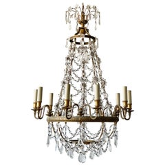 French Neoclassical Bronze and Crystal Beaded Chandelier