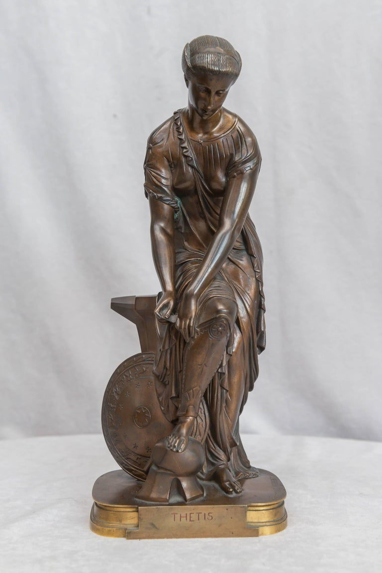 French Neoclassical Bronze Figure of Thetis, Signed Hebert For Sale 4