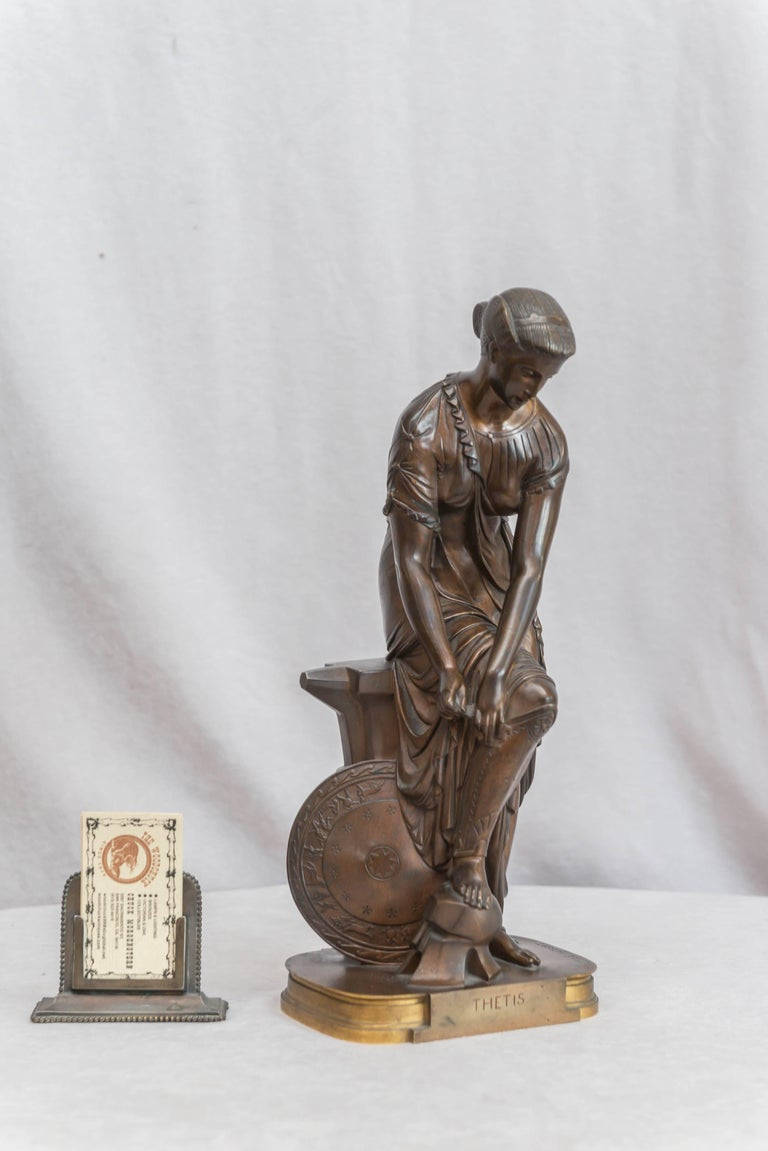 Very finely detailed bronze of Thetis signed by the noted French artist Emile Hebert. This model is pictured in Vol IV of the four volumes of bronzes, Berman Abage.