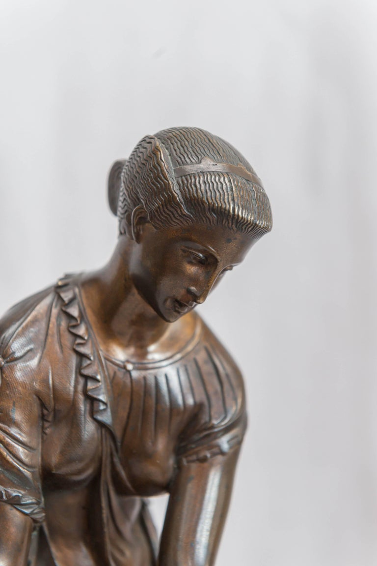 Patinated French Neoclassical Bronze Figure of Thetis, Signed Hebert For Sale