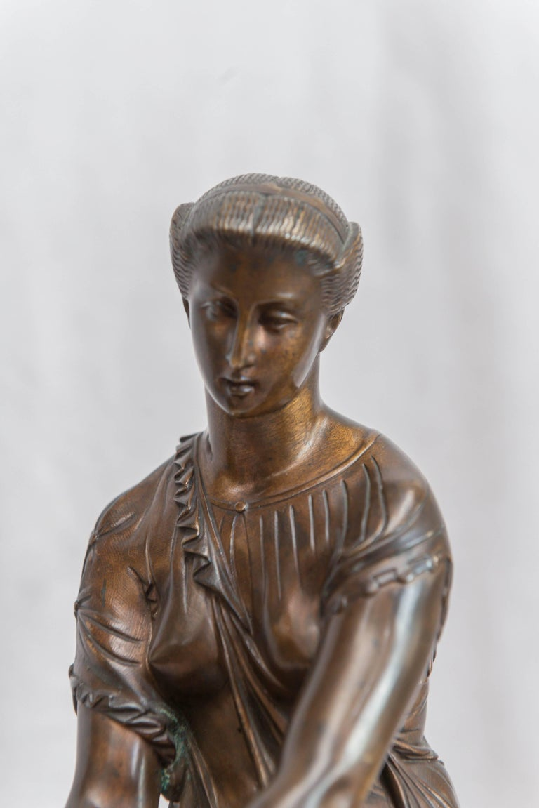 French Neoclassical Bronze Figure of Thetis, Signed Hebert In Excellent Condition For Sale In Petaluma, CA