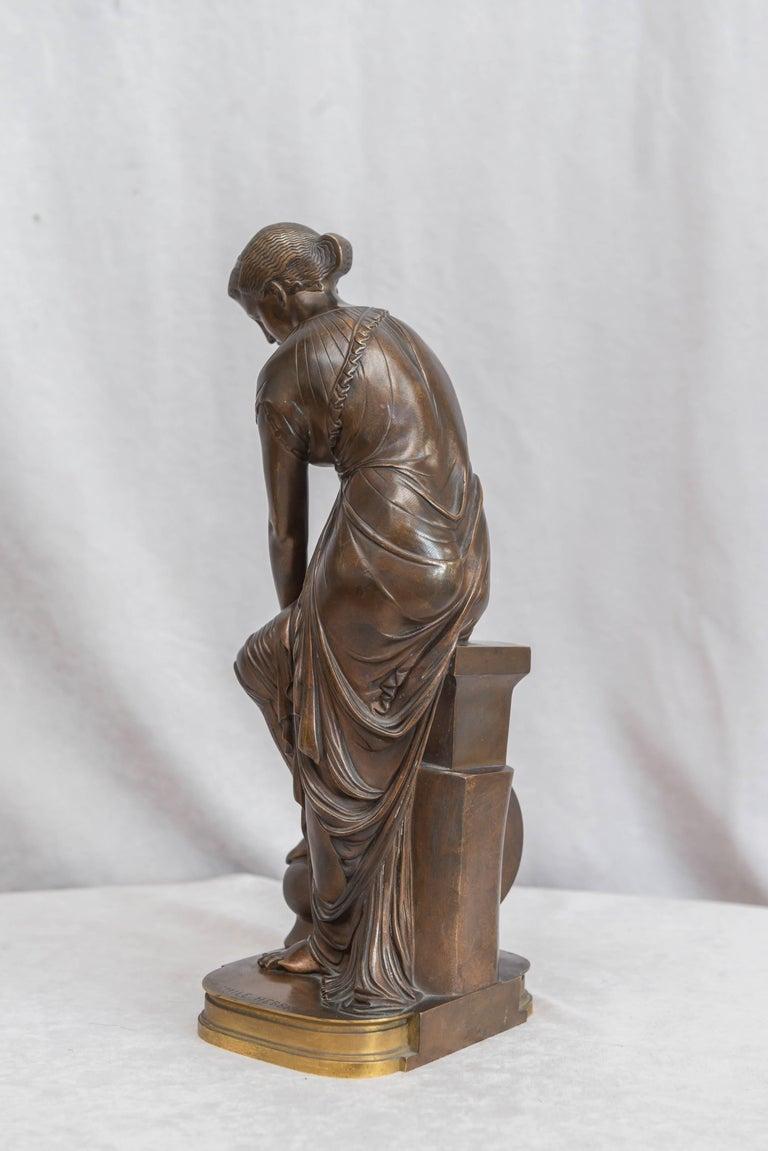 French Neoclassical Bronze Figure of Thetis, Signed Hebert For Sale 1