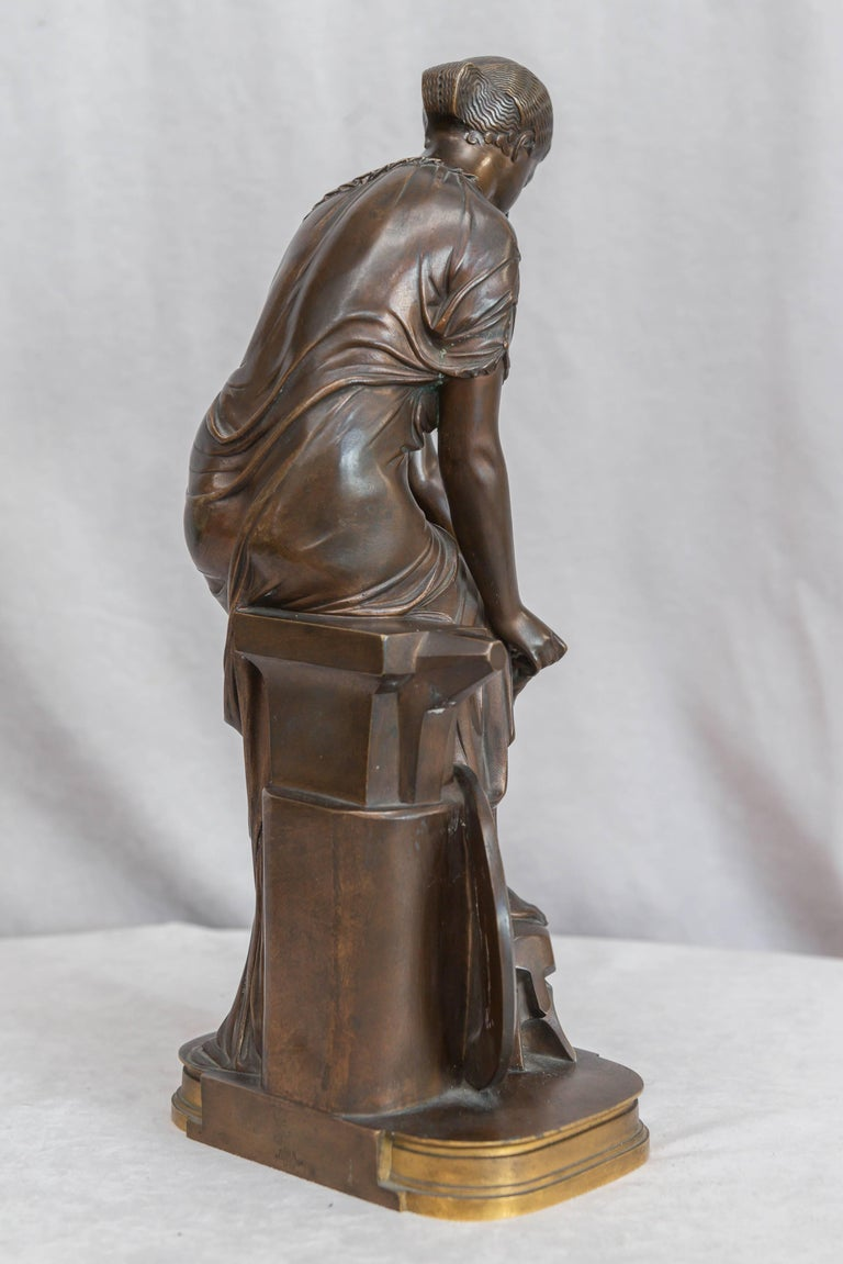 French Neoclassical Bronze Figure of Thetis, Signed Hebert For Sale 2