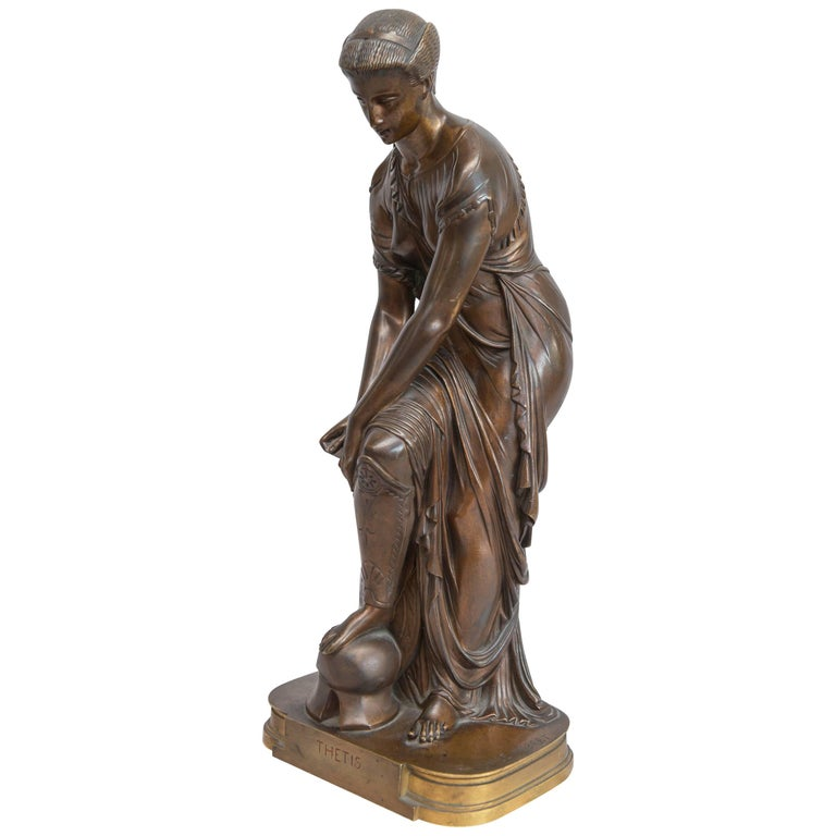 French Neoclassical Bronze Figure of Thetis, Signed Hebert For Sale