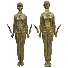 French Neoclassical Cast Bronze Figural Female Ormolu Furniture Mount