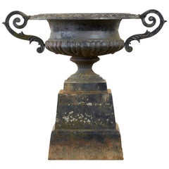 French Neoclassical Cast Iron Garden Urn on Pedestal