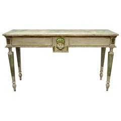 French Neoclassical Continental Distress Painted Figural Console Table with Face
