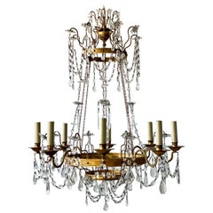 French Neoclassical Crystal Beaded Chandelier