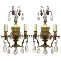 French Neoclassical Crystal Sconces