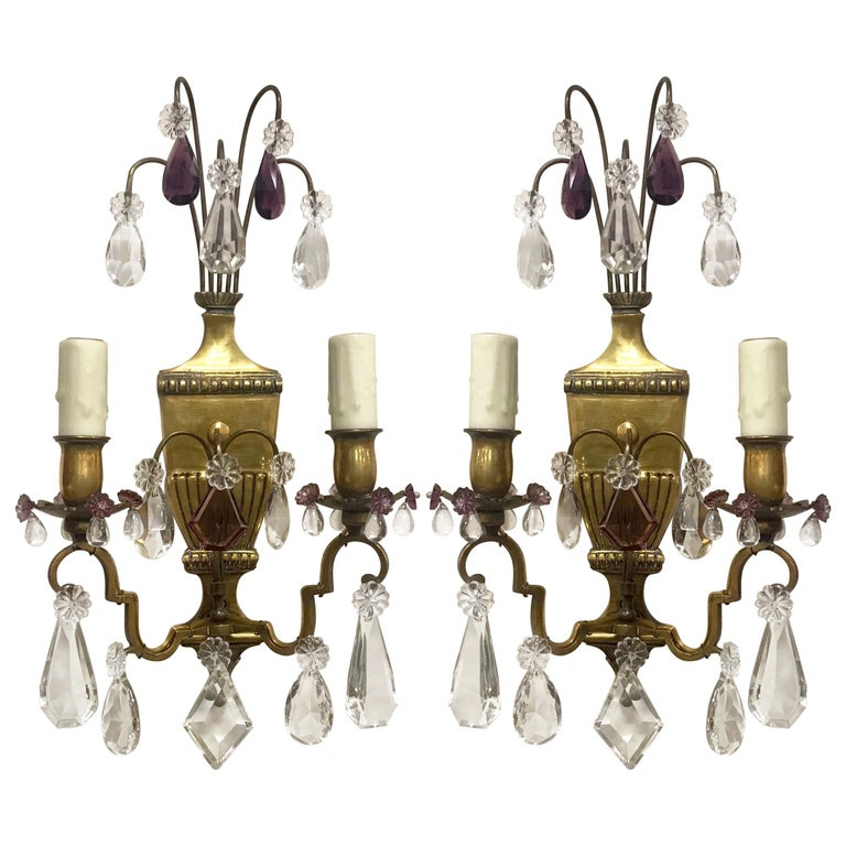 French Neoclassical Crystal Sconces For Sale