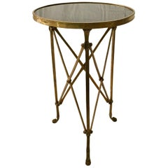 French Neoclassical Empire Style Gueridon Table, Round, Bronze and Marble