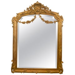 French Neoclassical Fine Gold Giltwood Mirror