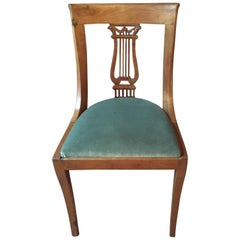 French Neoclassical Fruitwood Lyre Back Chairs with Falcon Heads