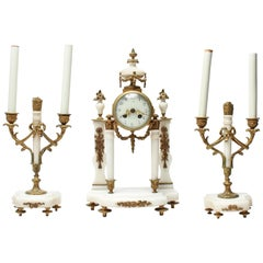 French Neoclassical Garniture Set with Clock and Candlesticks