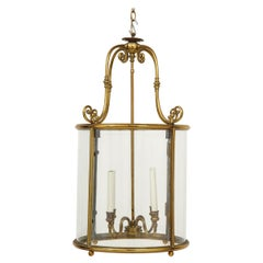French Neoclassical Gilt Lacquered Brass and Glass Oval Four-Light Lantern