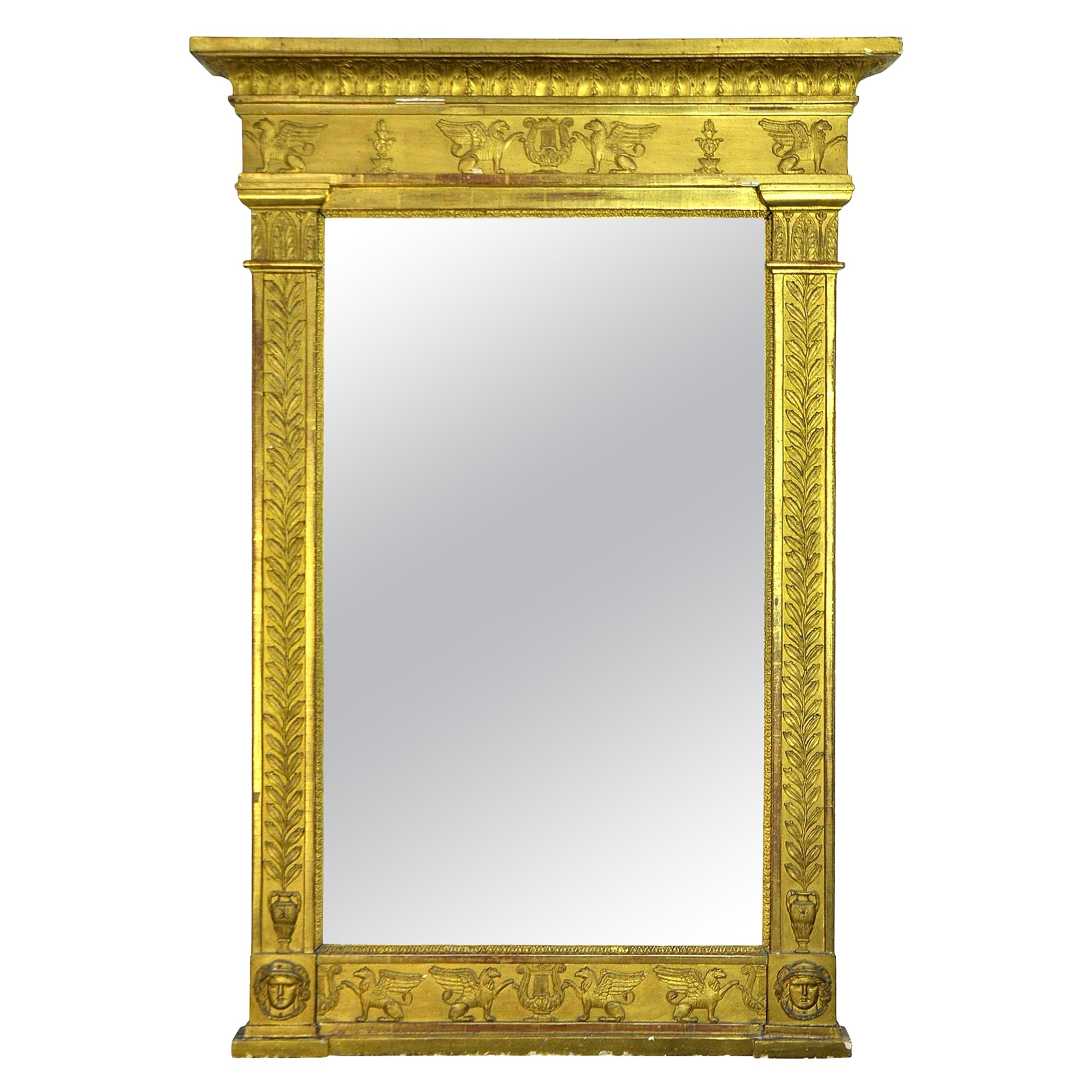 French Neoclassical Gilt Mirror, Early 19th Century