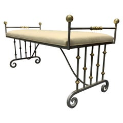 French Neoclassical Iron and Bronze Bench