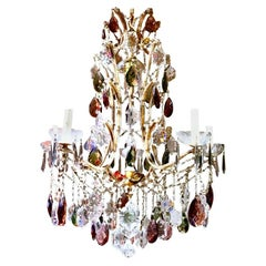 French Neoclassical Louis XV Manner 5-Light Bronze Amethyst Crystal Chandelier