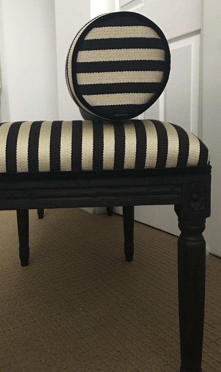 French Neoclassical Louis XVI Style Carved Wood Striped Bench Stool For Sale 1
