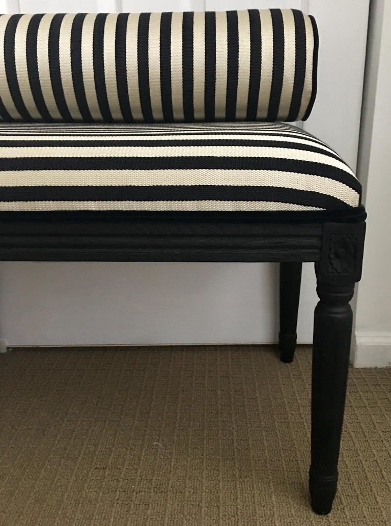 French Neoclassical Louis XVI Style Carved Wood Striped Bench Stool For Sale 3