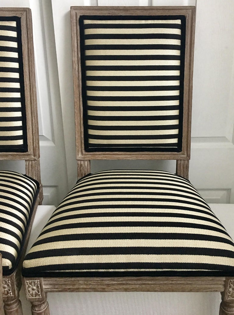 Contemporary French Neoclassical Louis XVI Style Carved Wood Striped Dining Chairs For Sale