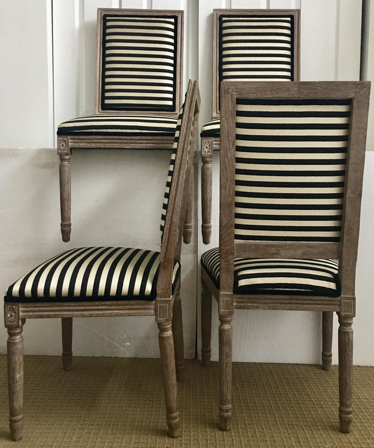 French Neoclassical Louis XVI Style Carved Wood Striped Dining Chairs For Sale 1