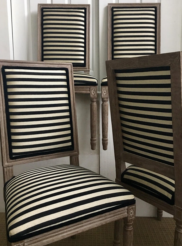 French Neoclassical Louis XVI Style Carved Wood Striped Dining Chairs For Sale 3