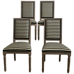 French Neoclassical Louis XVI Style Carved Wood Striped Dining Chairs