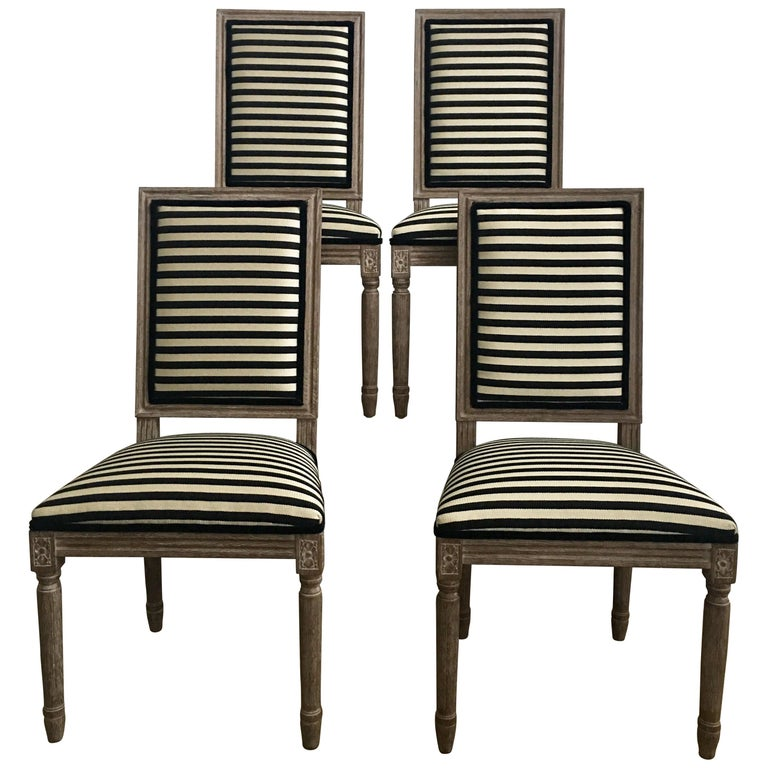 French Neoclassical Louis XVI Style Carved Wood Striped Dining Chairs For Sale